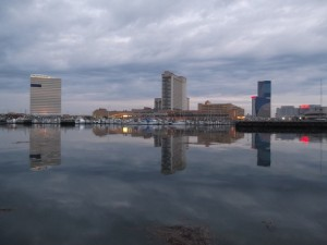 View of Atlantic City from Kammerman's Marina at dawn 5/3/14